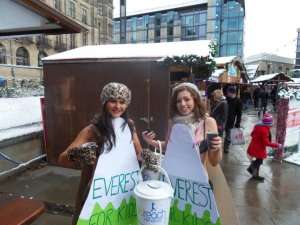 Braving the snow and freezing cold temperatures in just our underwear to raise money in a street collection.