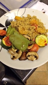 Baked quinoa with apricot and roasted veg