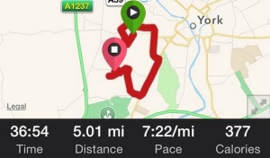 A recovery run which turned in to a pretty fast 5 miler, whoops.